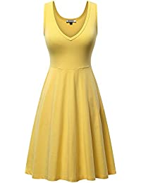 Womens Sleeveless V Neck Dress with Pocket Summer Beach...