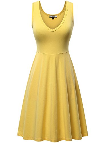 HUHOT Junior Dresses,Sleeveless V Neck Dress with Pocket Spring Summer Tank Dress(Yellow,X-Large)