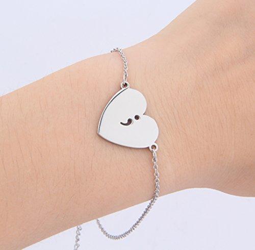BOYZUO Semicolon Hollow Out Heart Charm Bracelet Survivor Suicide Awareness Bracelet