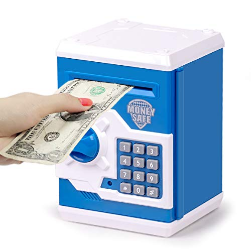 Refasy Safe Coin Bank Birthday Gift Toys for 3-12 Year Old Girl Boy, Children Fun Toys 8-12 Kids ATM Bank Machine with Bank Card Money Safes for Cash Toy Electronic Coin Banks Box for Kids Blue