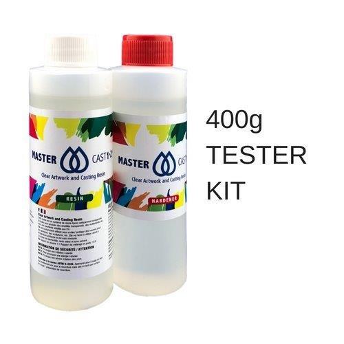 Trasparente resina epossidica Art grade resina 400ml tester kit (stabilizzato ai raggi UV) MasterCast 1–2-1, con indurente e attrezzo per mixer (UK stock) Eli-Chem Resins U.K Ltd