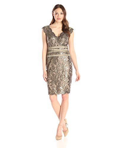 Tadashi Shoji Women's V-Neck Sequinned Dress with Banded Waist Detail, Smoke Pearl, 4