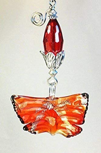 Big Bright Orange-Red Lamp Work Glass Butterfly Ceiling Fan Pull Chain