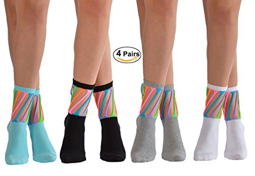4 Pairs Pack Colorful Design Novelty Crazy Fun Socks For Girls by Softy Socks (Large/10 Years+/Shoe Size 6-9, 4 Pack (White,Black,Blue,Grey)) (Design Sock Kids)