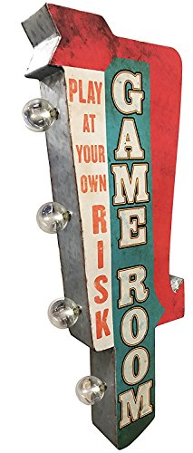 Game Room Sign, Illuminated By Battery Powered Large LED Lights, Double Sided Metal Tin Marquee Display, Wall Decor Designed To Have A Distressed Finish ()