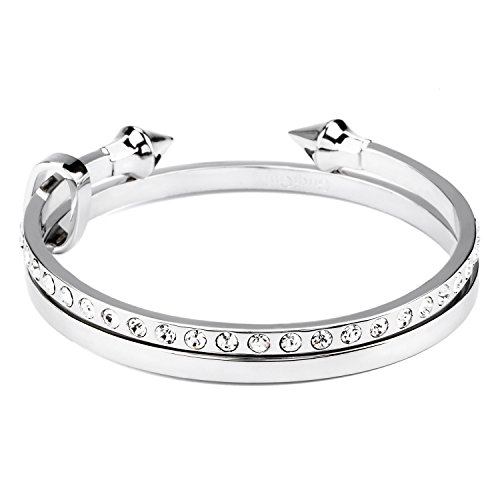 GuqiGuli Women's Two-Piece Arrow Open Silver-Tone Bangle Bracelet Set made with Swarovski Crystal, 7.7'' Inner Circumference (Tone Silver Crystal Bangle)