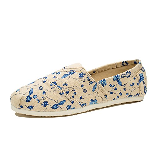 Women's Flat Canvas Sneakers Floral Comfortable Shoes Blue Casual - 4