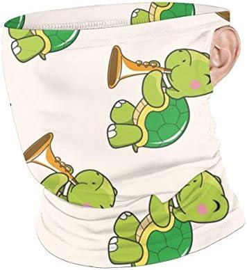 フェイスカバー Uvカット ネックガード 冷感 夏用 日焼け防止 飛沫防止 耳かけタイプ レディース メンズ Cartoon Animal Turtle Playing Instrument