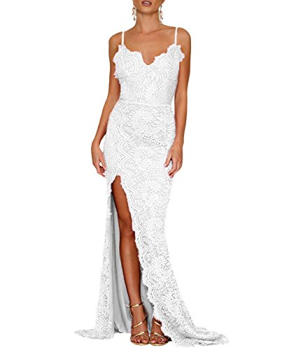 White Bridal Wedding Gown - Lalagen Women's Floral Lace Split Long Formal Wedding Dress Evening Gown White S