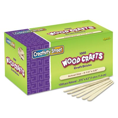 Natural Wood Craft Sticks, 4 1/2 x 3/8, Wood, Natural, 1000/Box (20 Boxes)