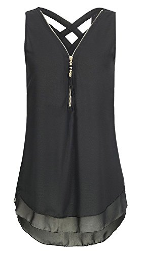T Tops Dos Mousseline sans Fox Chemisiers Vest Noir Sexy Shirts avec Chemises Et Femmes Fashion Zippe Manche V Bandage Col Dbardeurs ulein Nu Fr BwaH8nq5P