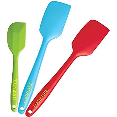 Lucentee 3-Piece Silicone Spatula Set - 2 Large & 1 Small Heat Resistant Cooking Utensils (Multicolor)