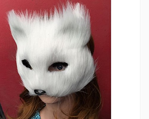 Halloween Fox Mask Cosplay Costume Half Face Animal Headgear Caps Furry Party Performance Accessory -