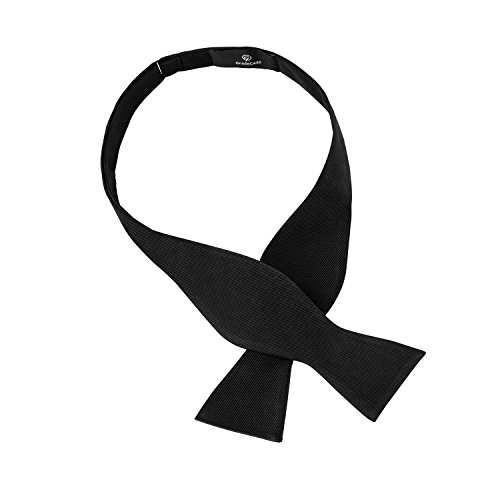 G&C 100% silk Mens Self Bowtie Adjustable Bow Tie for Men by GradeCode-Great for a Wedding or Tuxedo (Black)