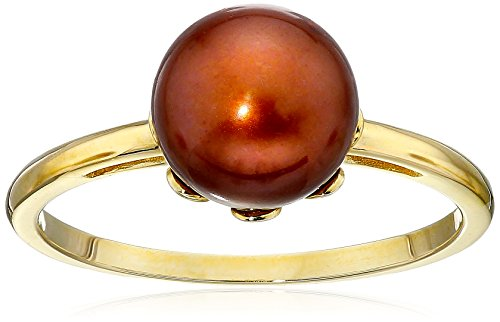 14k Yellow Gold 8.5-9mm Chocolate Freshwater Cultured Pearl Solitaire Ring, Size 5