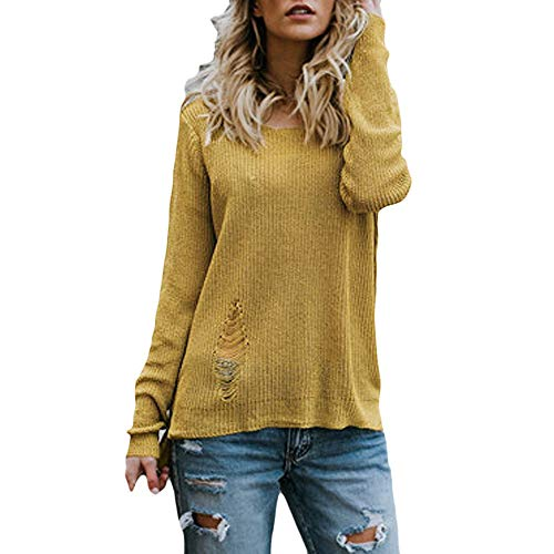 AIEason-women blouse Womens Long Sleeve O-Neck Pullover Sweater Hole Oversized Knitted Jumper from AIEason-women blouse