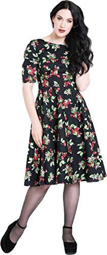 Kirschen Schwarz mit Bunny Swing Kleid Dress Vintage Cheriee Damen Hell Kirschen agXnqTUA