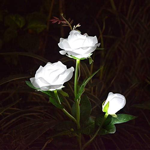 Abkshine Outdoor Decorative Rose Flower Solar Garden Stake Lights for Garden Lawn Grave Christmas Yard Decoration, White