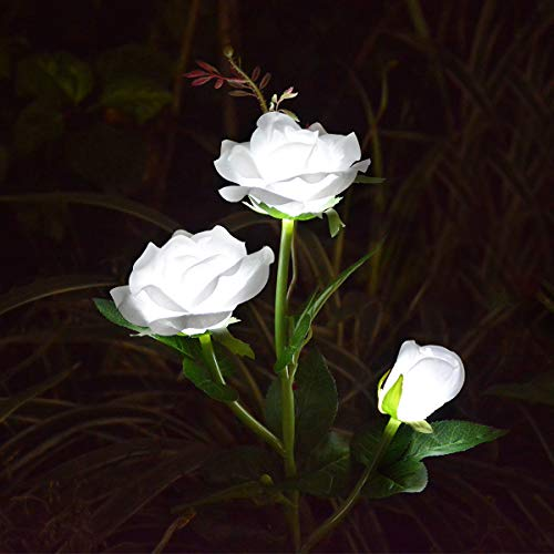 LAMPDREAM Outdoor Decorative Rose Flower Solar Garden Stake Lights for Garden Lawn Grave Christmas Yard Decoration, White (Christmas Decorations Rose)