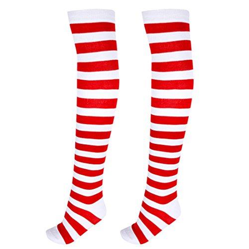 iEFiEL Teen Girls Women Stripe Knee Socks Costume Stocking Cosplay Wear Red One Size -