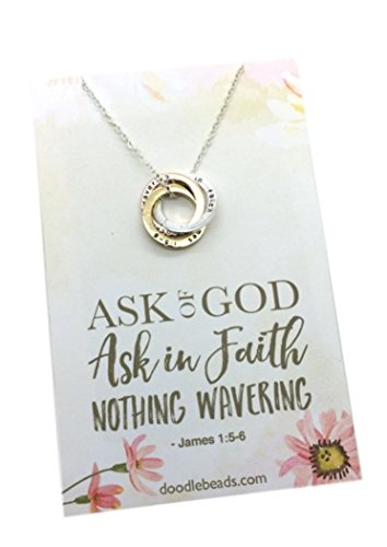 Ask of God Ask in Faith, LDS mutual theme 2017 jewelry gift, 3 stamped rings entwined on Necklace with 16