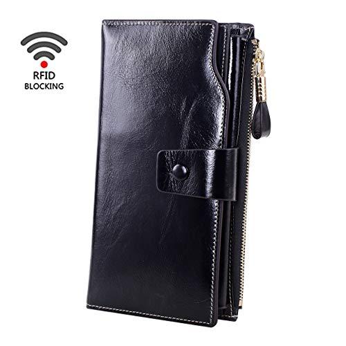 f1eca3e7d78b Obosoyo Women's RFID Blocking Large Capacity Luxury Wax Genuine Leather  Wallet With Zipper Pocket Holder Organizer Ladies Purse Black
