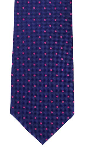 Royal Blue/Pink Traditional Spot Silk Tie by Michelsons of (Spot Woven Silk Mens Tie)