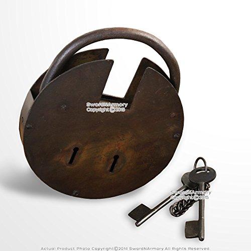 Large Medieval Renaissance Padlock double Key Lock with Keys Renaissance Costume (Lock And Key Costume)