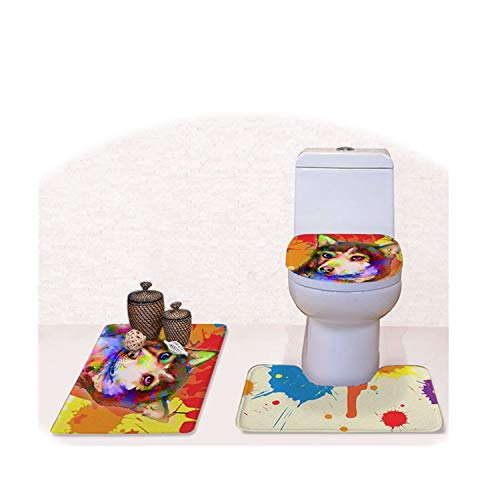 Creative Graffiti Animal Dog Colorful Toilet Seat Cover House Out Bedroom Rug Set Carpet Stool Lid Seat Cover Decore,Cc3336Cp ()