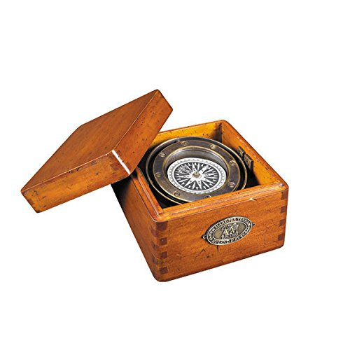 Authentic Models Lifeboat Compass in French Wood,Brown,4.7 x 3.3 x 4.7