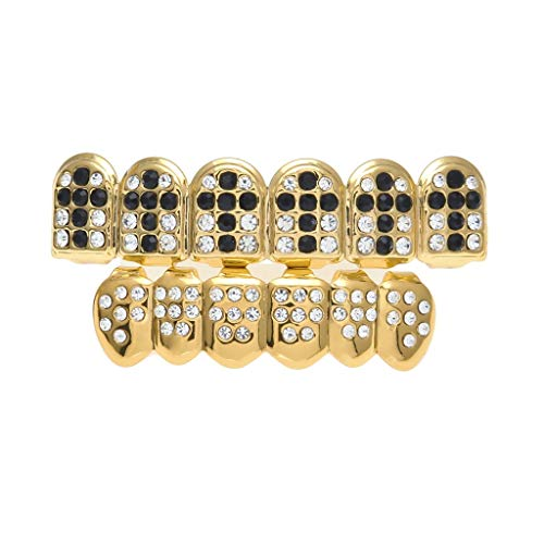 Never give up. Braces Hip hop Gold-Plated Big Gold Teeth with Diamonds Set of Colored Diamonds Cross Pattern (Color : Black, Edition : 1) ()