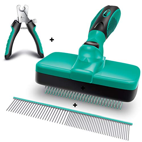 Ruff 'N Ruffus Self-Cleaning Slicker Brush + FREE Pet Nail Clippers + FREE 7.5″ Steel Comb | UPGRADED PAIN-FREE BRISTLES | Cat Dog Brush Grooming Gently Reduces Shedding & Tangling For All Hair Types