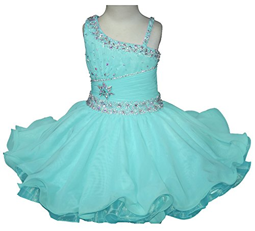 Little Girls Cupcake (HuaMei Little Girls One Shoulder Chiffon Beaded Cupcake Pageant Dresses 3T US Baby Blue)