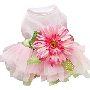 Sanwood Daisy Flower Gauze Tutu Dress Pet Dog Bowknot Princess Clothes Pet Only for Small Dog 1