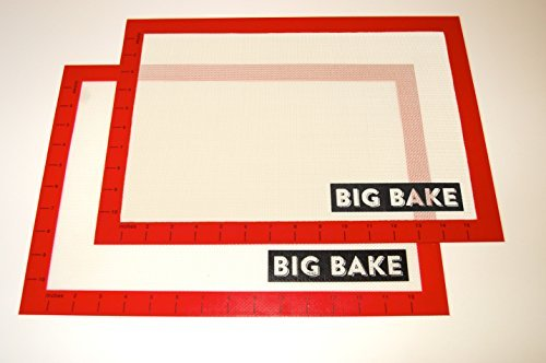 BIG BAKE SILICONE BAKING MAT 2 PACK! NON STICK REUSABLE MATERIAL FOR ALL YOUR BAKING NEEDS!