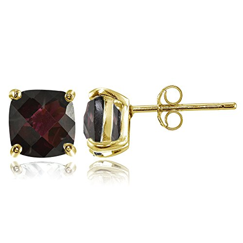 Yellow Gold Flashed Sterling Silver 7mm Cushion-Cut Garnet Stud Earrings