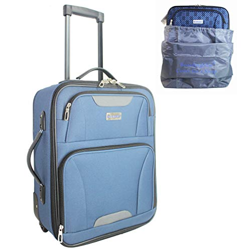 "Boardinglbue Rolling Personal Item Under Seat Luggage 18"" for American Frontier Spirit Southwest Airlines + Cover (Navy)"