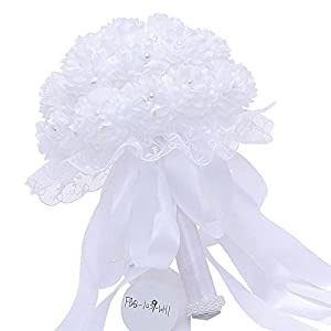Wedding Bridal Bouquet Artificial Silk Flowers with Lace and Fake Pearl for Bridesmaid and Bride 91