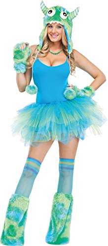 UHC Women's Sully Monster Hoodie Halloween Adult Costume Hat Accessory (Green/Blue) -