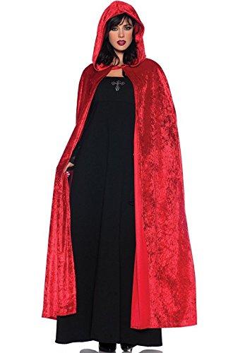 Costume Red Cape Riding (Women's Costume Cape - Full Length Velvet Hooded Cloak, Red, One)