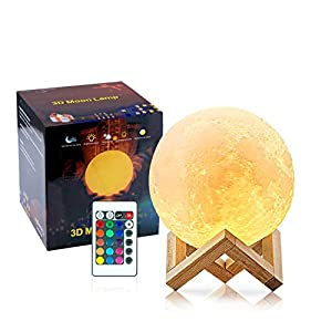 3D Moon Lamp Kids Nightlight Rechargeable – 16 LED Colors, 5.9 inch Globe, Full Set with Wood Stand, Remote & Touch Control -Includes Gift Box Excellent Gift Idea