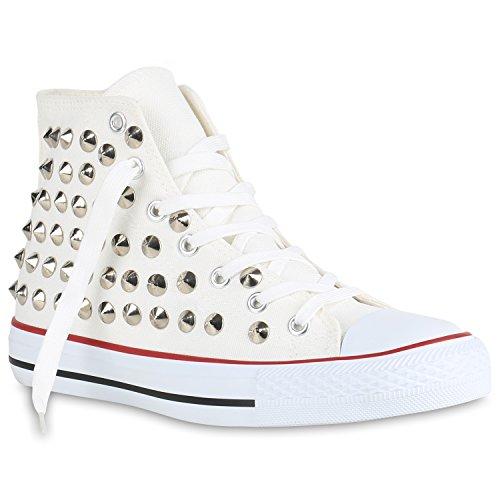 Herren Nieten Unisex Flandell Damen Übergrößen Stiefelparadies Sneaker Weiss high O7qEwWxd8