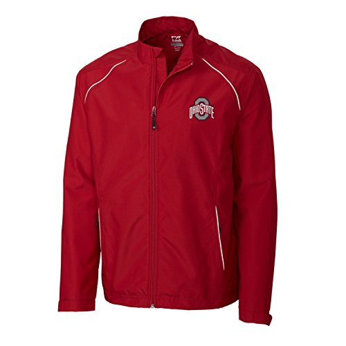 (Cutter & Buck Adult Men CB Weathertec Beacon Full Zip Jacket, Cardinal Red, Large )