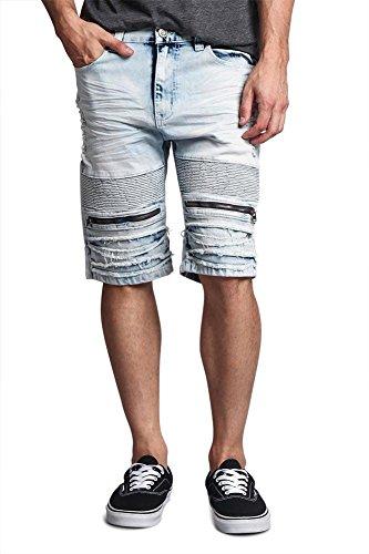 Indigo Ribbed Jeans - G-Style USA Zippered Biker Style Ribbed Moto Ripped Distressed Whisker Sandblast Stainwash Denim Jean Shorts - DS2017 - Light Indigo - 36 - FF1F