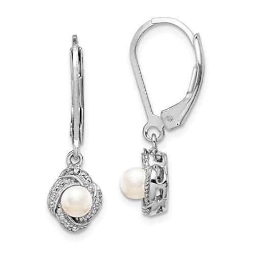 - 925 Sterling Silver Diamond Freshwater Cultured Pearl Leverback Earrings Lever Back Drop Dangle Birthstone June Set Fine Jewelry For Women Gift Set