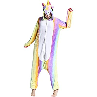 Adult Unisex Flannel Unicorn Animal Onesies Pajamas OnePiece Cosplay Costume