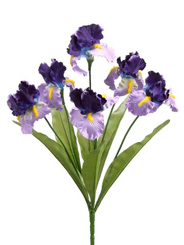 Twelve-Bushes-of-21-Artificial-Iris-Six-Flowers-Per-Bush
