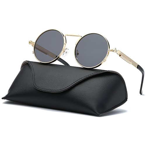 Gold Ray Glass (Ray Parker Gothic Round Metal Frame with Mirrored Lenses for Men Sunglasses RP6634 with Gold Frame/Grey Lenses)