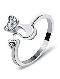 Infinite U Women Adjustable Ring Made of 925 Sterling Silver Poppy Cat/Kitty Cubic Zirconia for Wedding/Anniversary/Engagement Ring Size From 5 to 7.5