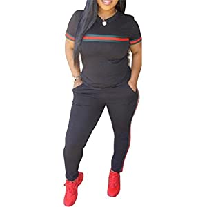 DingAng Women 2 Pieces Outfits Short Sleeve Top and Long Pants Sweatsuits Set Tracksuits
